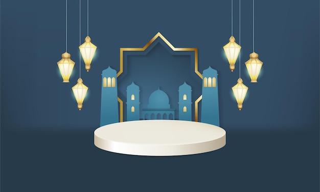 Podium de scène en or bleu islamique minimaliste