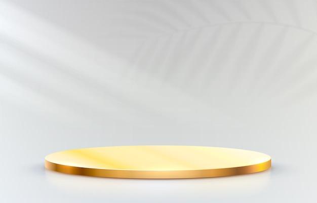 Podium de scène d'or sur fond gris