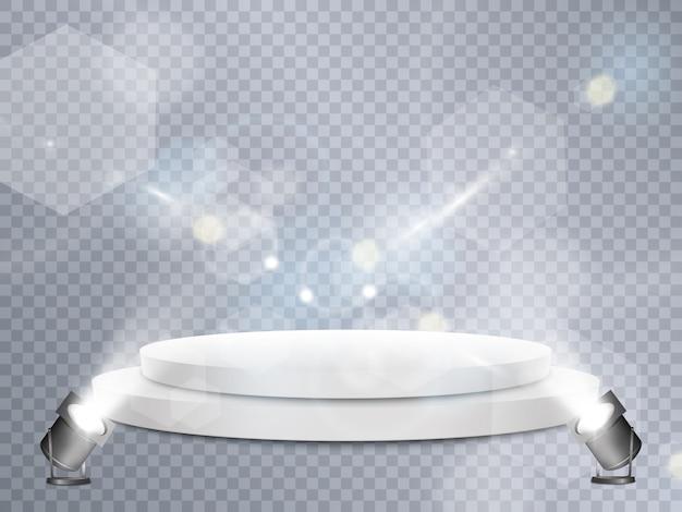 Podium. scène pour la cérémonie de remise des prix. piédestal. projecteur.