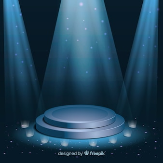 Podium de scène réaliste avec un éclairage élégant