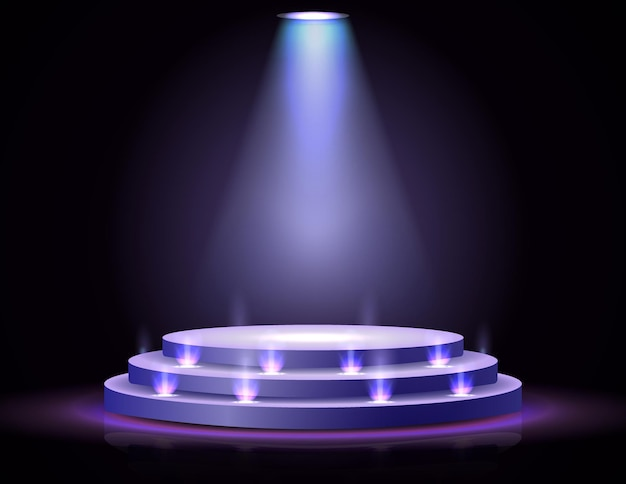 Podium de scène réaliste avec projecteur d'éclairage élégant