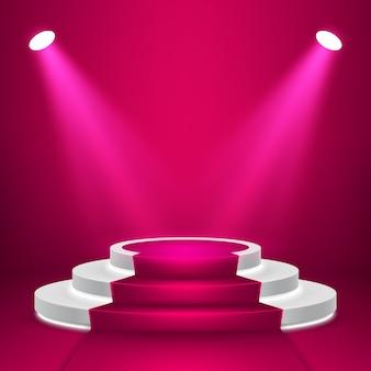Podium de scène rond avec lumière. scène de podium festive avec tapis rouge