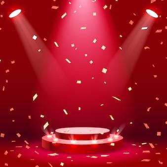 Podium de scène rouge avec fond de projecteur et confettis