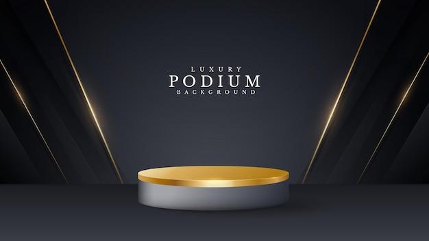 Podium de style 3d luxe doré sur fond abstrait, illustration vectorielle pour la promotion des ventes et du marketing.