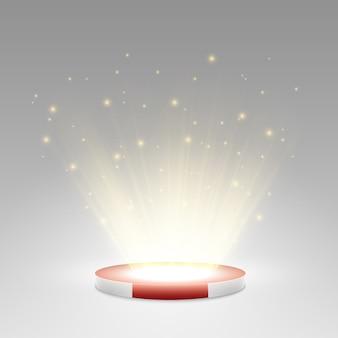 Podium avec un tapis rouge. étape de remise des prix. piédestal. projecteur.