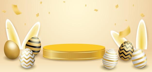 Podium de thème de joyeuses pâques. oeuf de pâques doré.