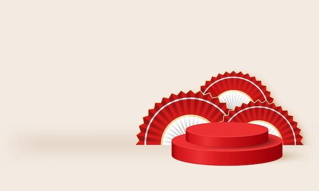 Podium à thème rouge et blanc indonésien pour vitrine de produits scène vectorielle réaliste