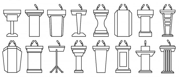 Podium de tribune dans le style de ligne sur blanc