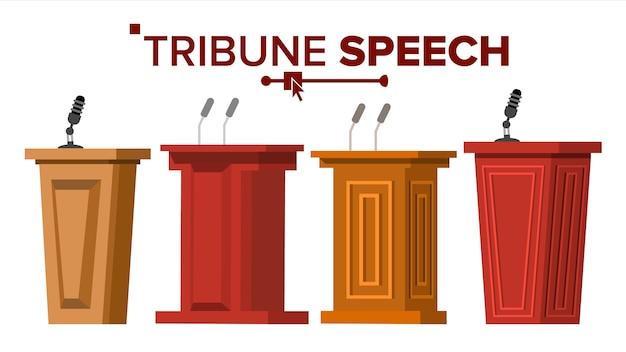 Podium tribune avec microphones