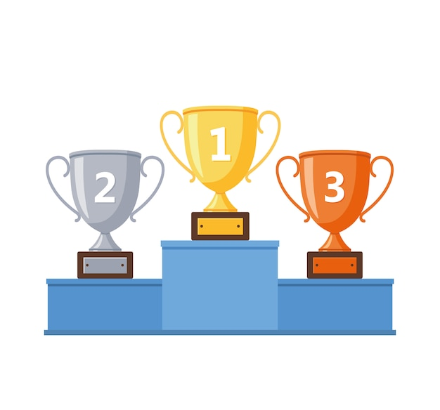 Podium des vainqueurs avec coupes d'or, d'argent et de bronze.