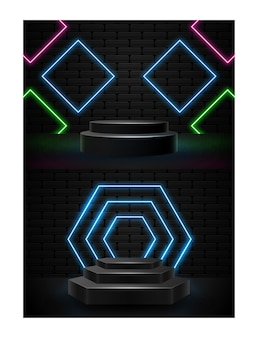 Podium avec vecteur d'illustration de formes lumineuses au néon
