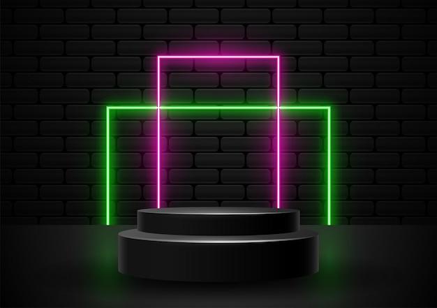 Podium avec le vecteur d'illustration de formes lumineuses au néon