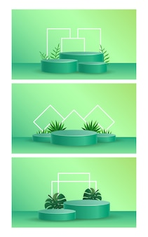 Podium avec vecteur d'illustration de superposition d'ombre de feuilles tropicales