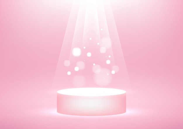 Podium vide avec une lumière scintillante