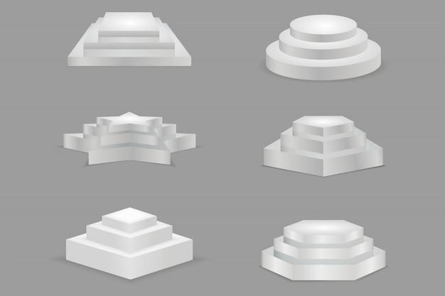 Podium vide rond et carré avec des étapes. piédestaux de salle d'exposition en forme d'étoile, ronde, carrée.