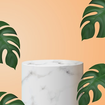 Podium de vitrine cylindrique en marbre
