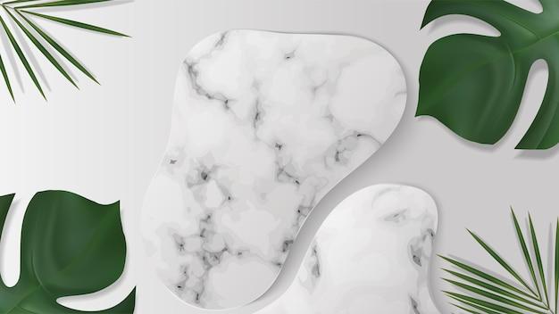 Podium de vitrine en marbre blanc avec des feuilles d'ombre pour le placement de produit