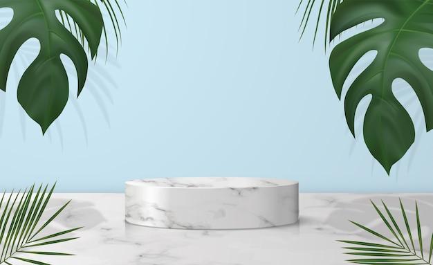Podium de vitrine en marbre blanc avec ombre pour le placement de produit