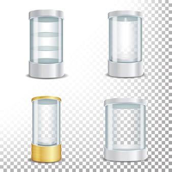 Podium de vitrine ronde vide en verre