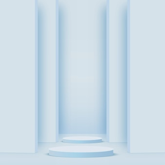 Podiums 3d géométriques bleus abstraits.