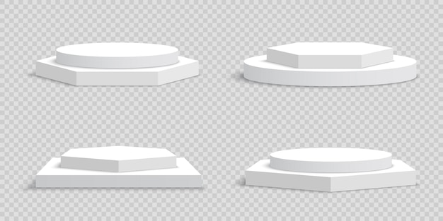 Podiums blancs blancs sur transparent