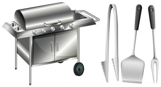 Poêle à barbecue et illustration d'ustensiles différents