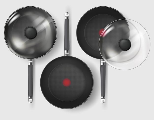 Poêle à frire classique réaliste avec couvercle et poignée en verre.