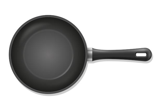Poêle à frire pour faire frire les aliments en feu sur blanc