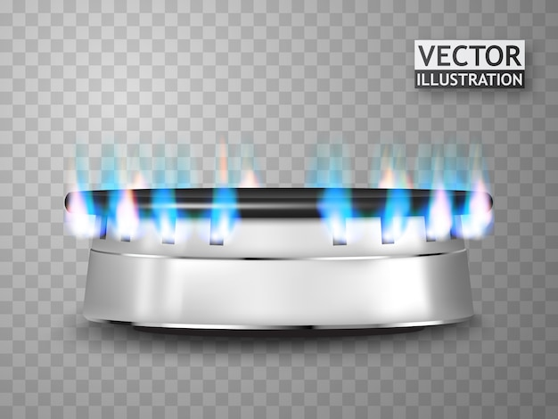 Poêle à gaz isolé avec feu.