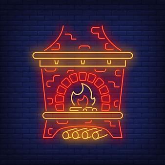 Poêle russe rouge en néon