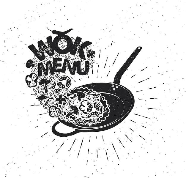 Poêle à wok. restauration rapide asiatique. affiche de typographie dessinée à la main. typographie vectorielle.
