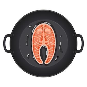 Poêler avec un steak de saumon. vue de dessus. conception créative pour le menu du petit-déjeuner, café, restaurant. illustration.