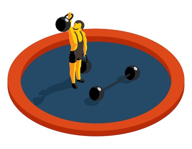 Poids de levage strongman. vecteur isométrique plat 3d. force musculaire, sport et haltères, homme artiste, illustration d'athlète d'haltérophilie