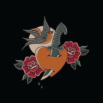 Poignard coeur d'hirondelle avec style de tatouage traditionnel