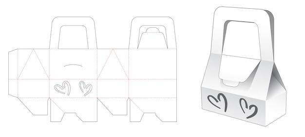 Poignée boîte de sac avec 2 modèles de découpe de fenêtre en forme de coeurs
