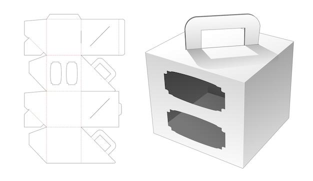 Poignée en carton avec 2 fenêtres gabarit découpé
