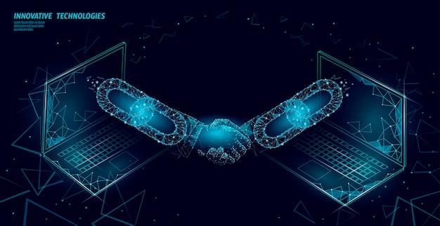 Poignée de main 3d de la technologie blockchain. concept de contrat d'accord de financement d'entreprise. modèle de bannière poly faible succès réseau web.