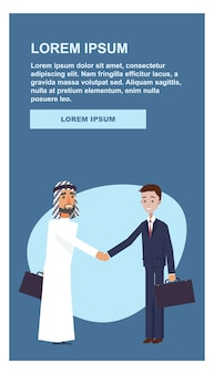 Poignée de main de bienvenue deux homme d'affaires.