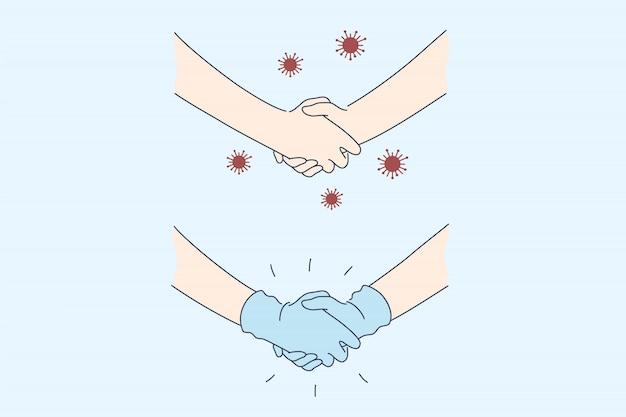 Poignée de main, contact, protection, covid19, coronavirus, concept de jeu d'infection.