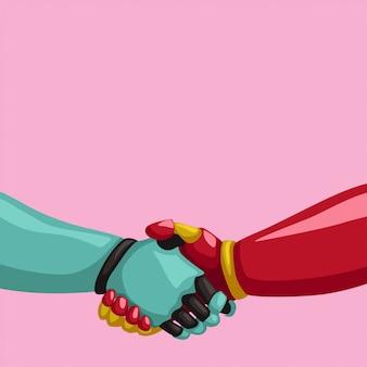 Poignée de main cyborgs sur fond rose