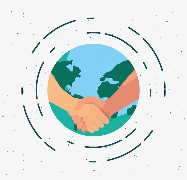 Poignée de main sur le design plat de globe terrestre