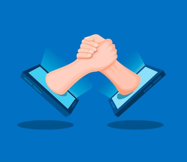 Poignée de main deux mains mâles à l'extérieur du symbole du smartphone pour le soutien et le travail d'équipe en illustration de dessin animé