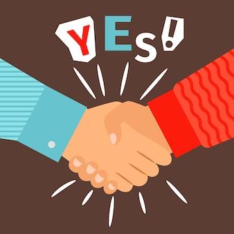 Poignée de main diverses mains occasionnelles réunion, bienvenue ou succès en agitant le signe