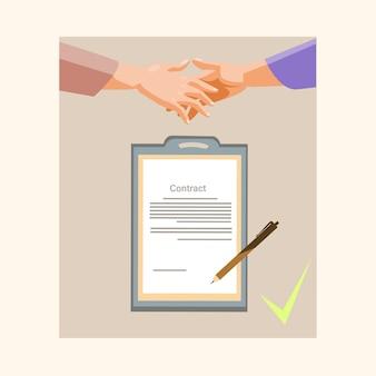 Poignée de main homme d'affaires contrat d'inscription papier documen