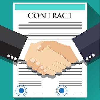 Poignée de main d'homme d'affaires sur le contrat