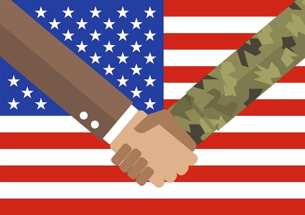 Poignée de main homme d'affaires et soldat