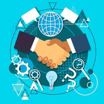 Poignée de main icône concept business hands