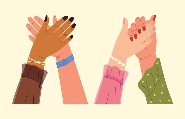 Poignée de main mains féminines