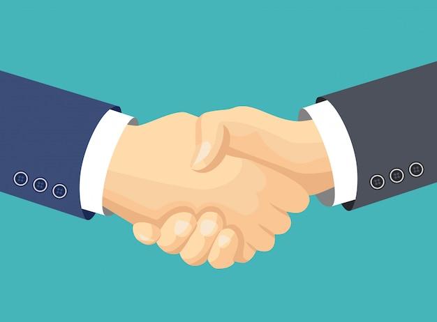 Poignée de main des partenaires commerciaux.