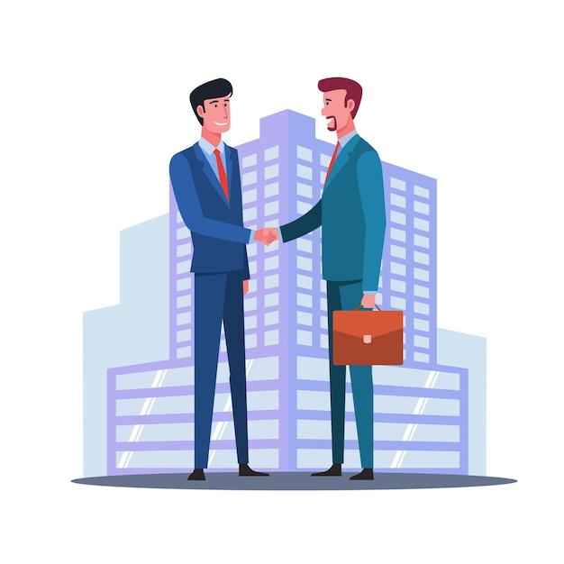 Poignée de main de partenariat commercial. poignée de main d'hommes d'affaires prospères